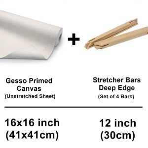 41 x 41 cm 16 x 16 inch set of unstrecthed canvas cotton sheet with deep edge strecher bars 12 inch 30 cm