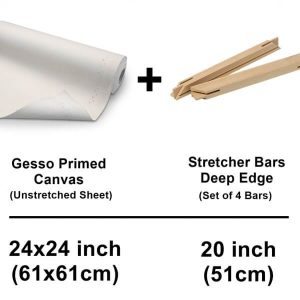 set of unstretched canvas cotton sheet with deep edge stretcher bars