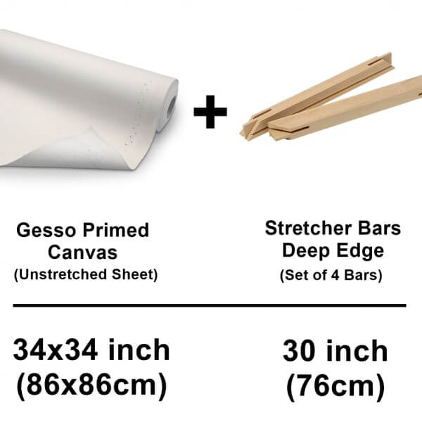 unstretched canvas cotton sheet with deep edge stretcher bars
