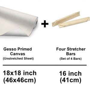 set of unstretched canvas cotton sheet with stretcher bars