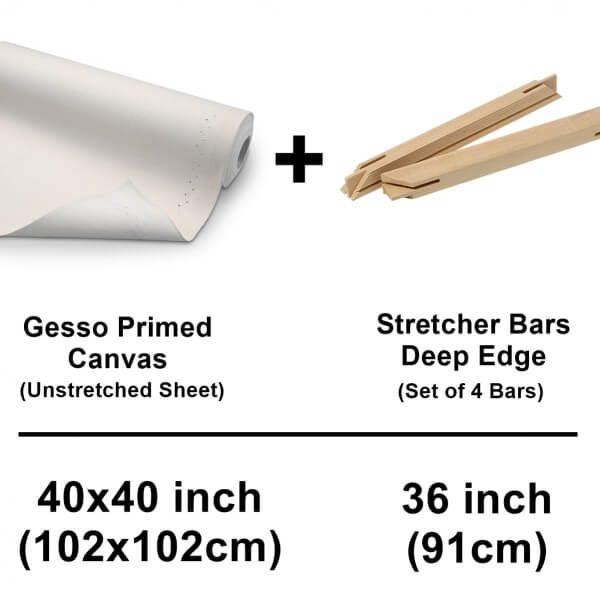 Set Of Cotton Canvas Sheet With Deep Edge Strecher Bars 36